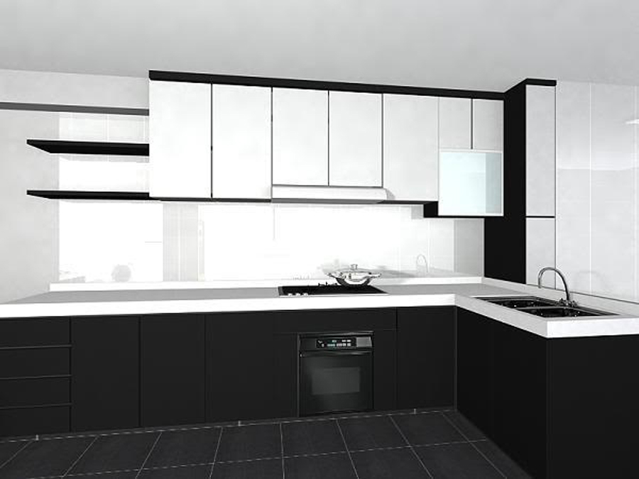 Black and white kitchen cabinets for Kitchen designs black and white