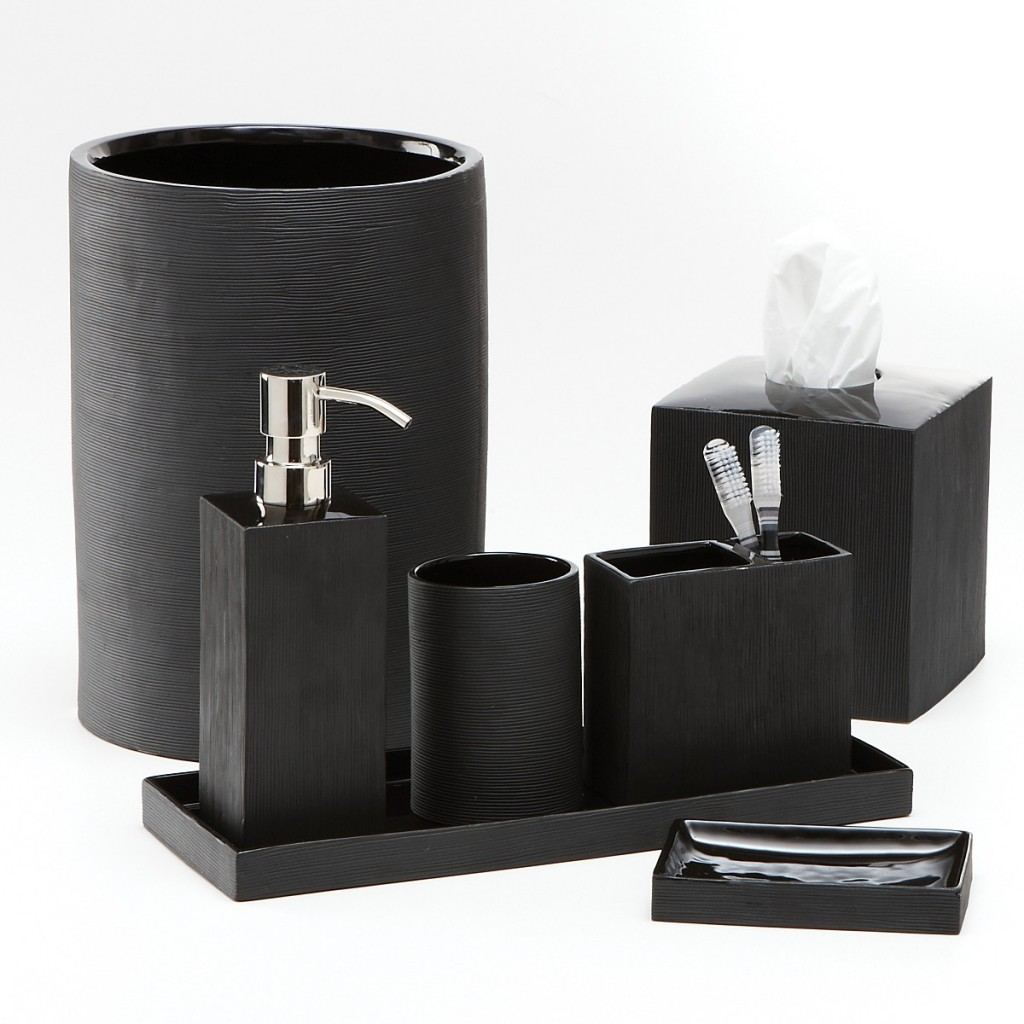 Black bathroom accessories for Bathroom accessories set
