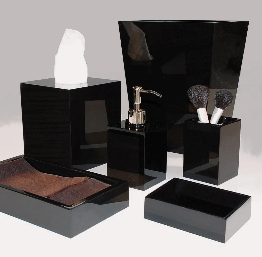 Black bathroom accessories 4 for Black bath accessories sets