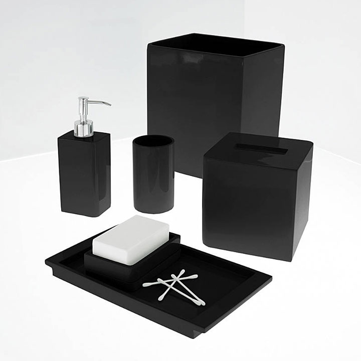 Black bathroom accessories 6 for Black bathroom ensembles