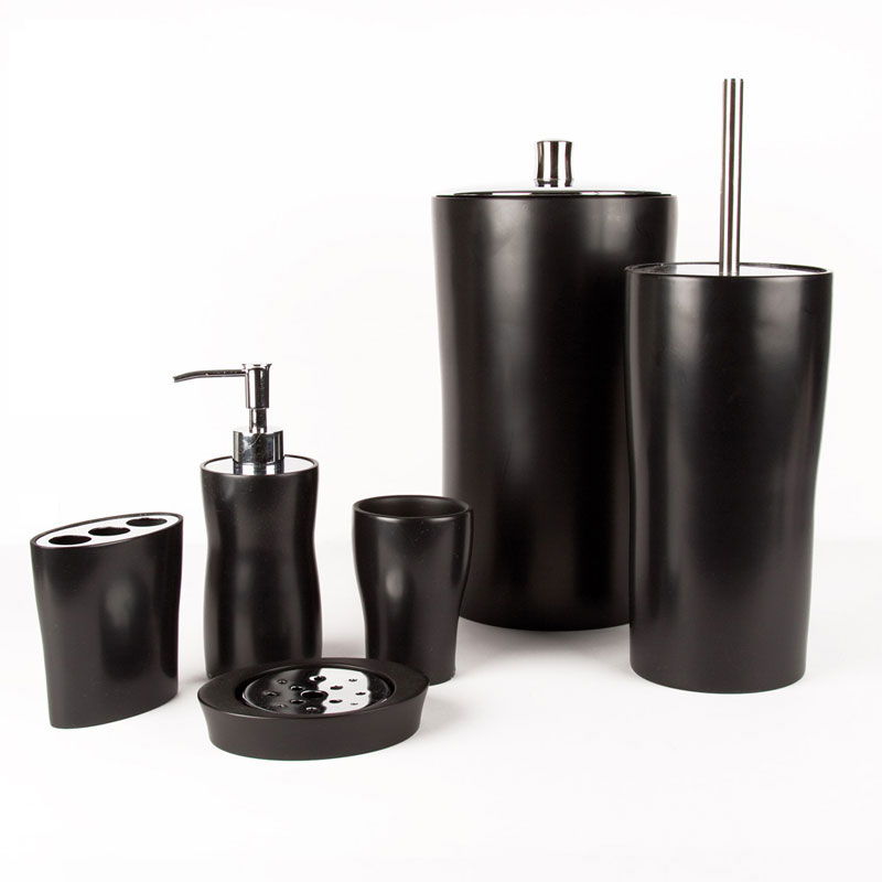 Black bathroom accessories for Black and white bathroom sets