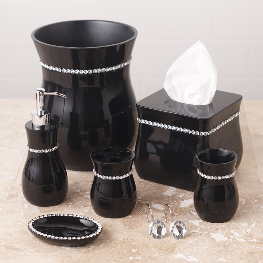 Black bathroom accessories for Black white bathroom set